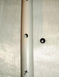 PVC Rohr gebohrt